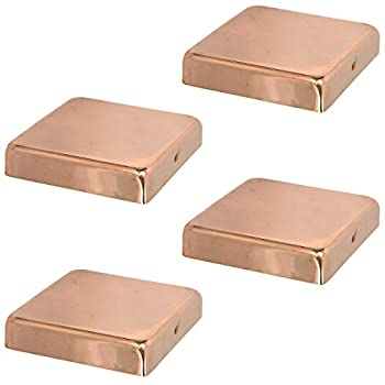 6x6 Copper Flat Top Post Caps  4-Pack  - Extended Lip - Solid Copper - Will Patina Naturally  5-1/2 x 5-1/2   4 6x6