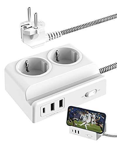 Kemelo Regletas Enchufes con 1 Rapida USB-C y 2 Enchufes y 2 USB-A,Cable de 1,5M,Base Enchufes Multiple de Seguridad con 1 Interruptor y Proteccion para Bebes