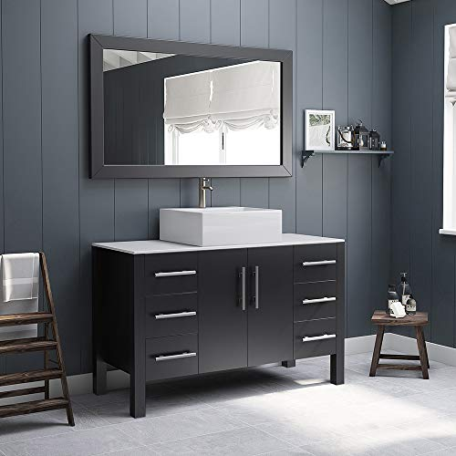 48 Inch Espresso Wood & Porcelain Single Vessel Sink Bathroom Vanity Set- Randolph (Brushed Nickel Facucet)