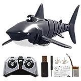 Juguetes de Tiburón de Control Remoto, Barco de Tiburones de Control Remoto 2.4G con Juguete de Simulación de Luz Negro RC Animal Shark Swing Boat para Juguetes de Baño de Piscina