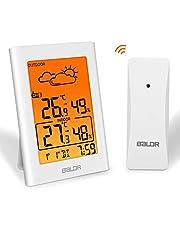 デジタル温度計 湿度計 室内 室外 温湿度計 置き時計 ワイヤレス 最高最低温湿度表示 天気予報計 LCD大画面 バックライト 三つセンサー コードレス 高精度 置きかけ式 温度湿度計 健康管理 ESOLOM
