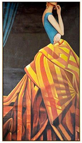 Lienzo De Impresión Vestido de belleza moderno, carteles de princesas e impresiones, niña abstracta para la decoración del hogar de la sala de estar 60x90cm Sin Marco