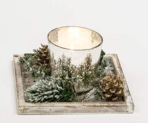 Adventsgesteck Nr.61 Holztablett mit mit Windlicht und Winterdeko Weihnachtsgesteck, Wintergesteck, Advent Adventskranz