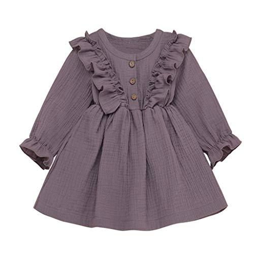 HSKB peuters baby meisjes jurken lange kinderen rok van katoen en linnen met vliegende bont print borduurwerk kleding