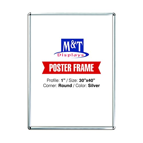 """M&T Displays Snap Frame, 30X40 Poster Size, 1"""" Silver , Round Corner, Front Loading, Wall Mounted, Easy Change Signage"""