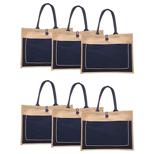 Jute Tote Bags with Cotton Pocket - 6 pack - Grocery Shopping Bag Totes - Navy Blue
