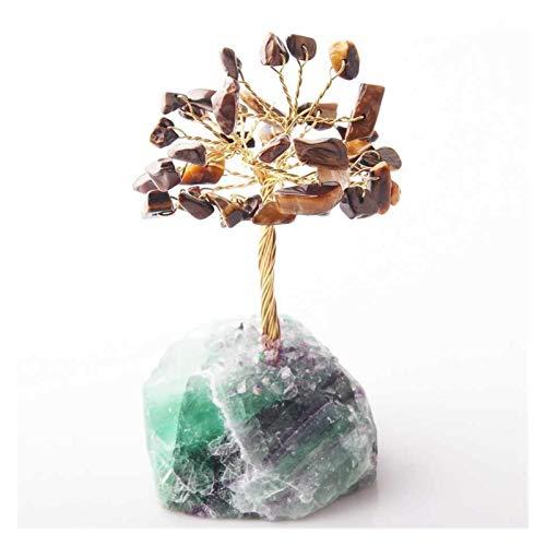 YHshop Árbol Piedra Suerte Crystal Lucky Dinero Árbol Ornamentos de estatuilla Feng Shui Gem Tree para Wealth Luck Home Office Decor Regalo de cumpleaños Árbol Feng Shui (Color : Tiger Eye)