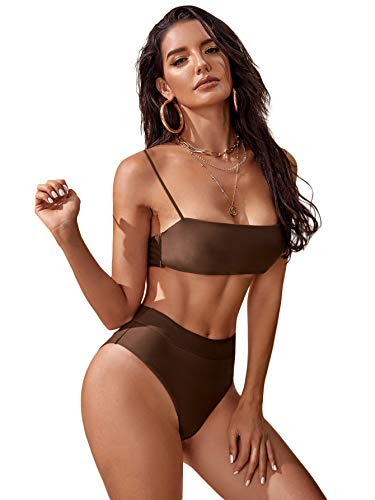 SOLY HUX Trajes de baño de bikini de cintura alta con correa de espagueti para mujer 2 piezas - marrón - Small