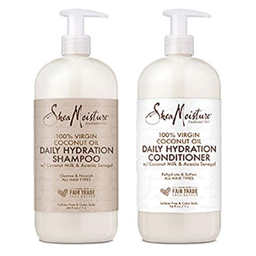 Shea Moisture Moisturizing Shampoo and Conditioner Set Coconut Oil Daily Hydration, Made with Real Coconut Oil, 34 Fl Ounce