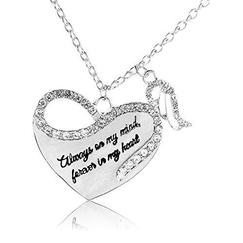 Janly Clearance Sale Collares y colgantes para mujer, el collar de amor con alas de ángel con incrustaciones de diamantes resalta tu personalidad, regalo de cumpleaños para mujeres y niñas (plata)