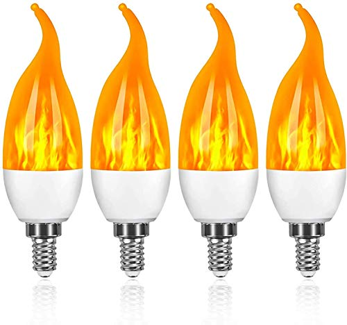 4 Stück Flamme Glühbirne, Swonuk 3W E14 Flammen Lampe Flammen-Effekt-Glühlampen LED mit 3 Beleuchtungs-Modi,Dekorative Retro Innenglühlampen im Freien für Halloween, Weihnachten, Garten-Hochzeitsfest