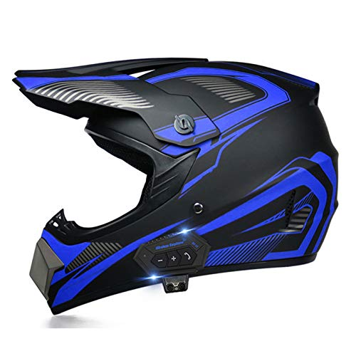 JJIIEE Unisex Full Face Crash Helmets with Bluetooth,ECE Certification,Adult Youth Downhill Helmet with Goggles Gloves Mask Helmet,for Motorcycle ATV Off Road Helmet MTB,B,M