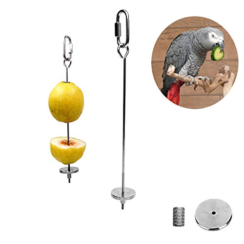 Bird Food Holder, Bird Feeder Toy, Bird Small Animal Fruit Vegetable Holder Stainless Steel Vegetable Skewer Foraging Hanging Food Feed Treating Tool for Parrots Cockatoo Cockatiel (2 Pcs)