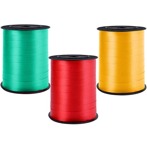 Elcoho 3 Rolls Curling Ribbon Balloon Ribbon 0.4 Inch Wide by 600 Yard Spools Christmas Gift Wrapping Red, Dark Green, Gold Ribbon for Parties Wedding Florist Crafts Festival Holiday