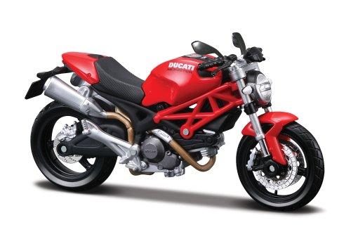 Maisto Ducati Monster 696: Originalgetreues Motorradmodell 1:12, mit beweglichem Ständer, Federung und frei rollenden Rädern, rot (531189)