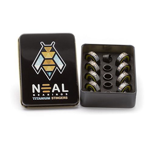 Neal Precision Skate Bearings / 3 Different Types - Ceramic - Swiss - Titanium / 608rs - Skateboard - Longboard - Inline - Scooter. The Best Bearings Guaranteed. (Titanium Stingers, 8 Pcs)