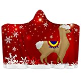 Manta con capucha para llevar con diseño de copo de nieve de Navidad roja de alpaca suave manta de forro polar de coral Poncho cálido y acogedor para niños y adultos, regalo de 39 x 51 pulgadas