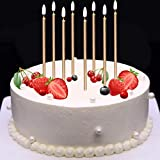 Mokaro 24 Count Birthday Candles Bulk for Christmas Party Cakes Champagne Gold 5.6inch Long Thin Celebration Candles Luxurious Birthday Wedding Cupcake Sparklers Decoration