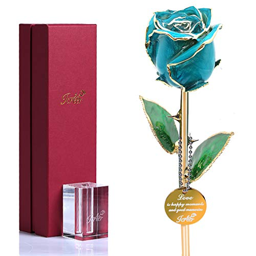 24k Gold Rose Flowers Glass Rose Blue Roses Forever Valentine's Day Anniversary Birthday for Her Wife Girlfriend Mom with K9 Crystal Stand