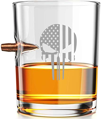 .308 Authentic Solid Copper Projectile Whiskey Glass - Thin Blue Line Punisher Police Flag