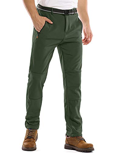 Hiking Pants Men's Snow Ski Waterproof Fleece Lined Outdoor Cargo Softshell Pants with Zipper Pockets M209,Army Green,30