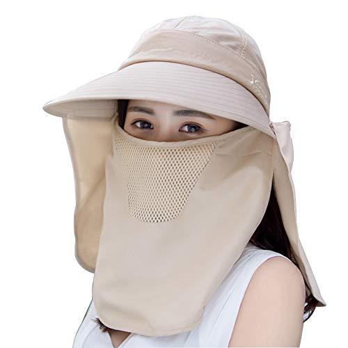 Alimagic Sonnenhut mit UV Schutz, Sonnenhut Damen Herren mit Gesichtshaube Fischerhut hoher Nackenschutz Hut für Jagd Camping Angeln Wandern Radfahren (Khaki)