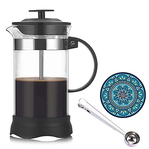 Menzs Cafetera francesa de,Vidrio de borosilicato Cafetera émbolo,tetera con triple filtro émbolo de acero inoxidable(1 litro/35oz)