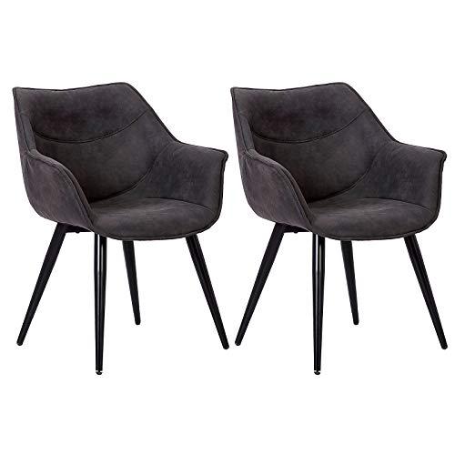 WOLTU Esszimmerstühle BH99an-2 2er Set Küchenstühle Wohnzimmerstuhl Polsterstuhl Design Stuhl mit Armlehne Stoffbezug Gestell aus Stahl Antiklederoptik Anthrazit