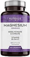 NUTRALIE   Magnésium et Vitamines B5, B6 et C   Bisglycinate et Citrate de Magnésium 100% Bio-disponible   120 Capsules...