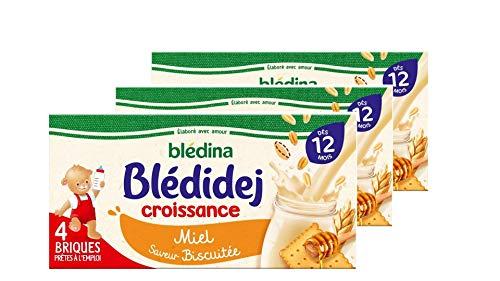 Blédina - Blédidej - 12 briques Croissance - Saveur biscuitée et miel - Avec des céréales et du lait de suite - Petit déjeuner pour bébé dès 6 mois (Pack de 3x4 briques)