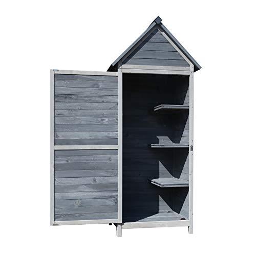 *Wiltec Gartenschrank grau aus Holz 77x53x179cm mit Tür & Satteldach mit Bitumenisolierung*