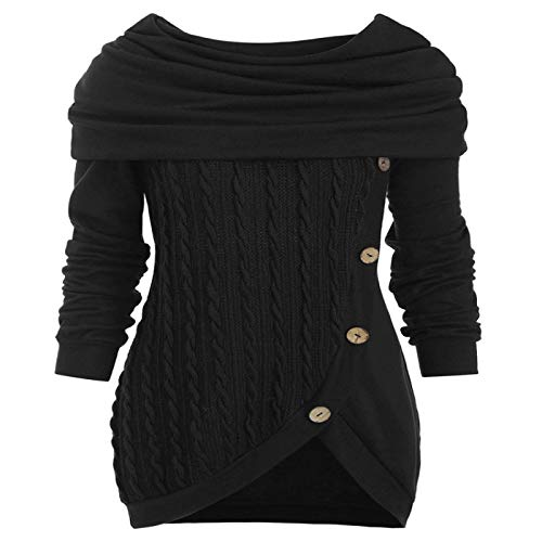 Suéter De Punto De Color Sólido para Mujer Suéter De Punto Irregular con Capucha con Botones De Gran Tamaño Suéter De Mujer De Trabajo Diario Al Aire Libre para Mujer