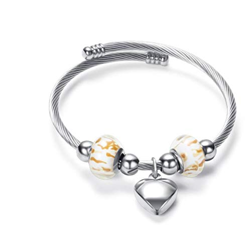 MiniJewelry Gold Charms Expendable Bracelet Silver Heart Adjustable Twisted Cable Wire Bangle Cuff for Women Girl, 7 Inch