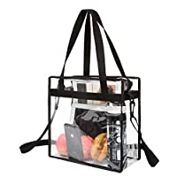 BAGAIL Clear bags Stadium Approved Clear Tote Bag with Zipper Closure Crossbody Messenger Shoulder Bag with Adjustable Strap(12 Inch X 12 Inch X 6 Inch,Black)