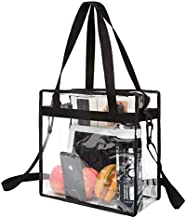 BAGAIL NFL and PGA Stadium Approved Clear Tote Bag with Zipper Closure Crossbody Messenger Shoulder Bag with Adjustable Strap(12 Inch X 12 Inch X 6 Inch,Black,1 Bag)