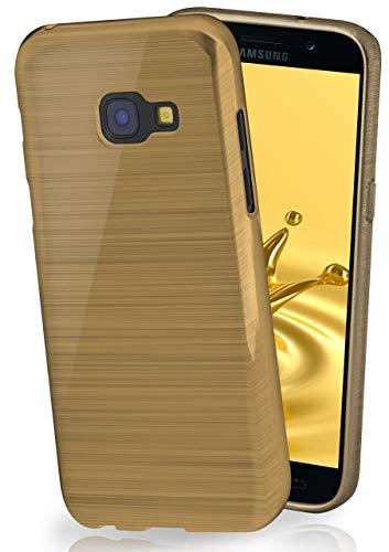 moex Stylische Brushed Aluminium-Optik und starker Grip | Ultra dünne Silikonhülle passend für Samsung Galaxy A3 (2017) in Gold