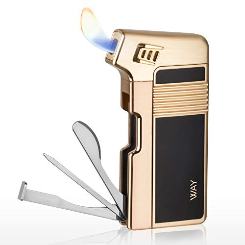 Tobacco Pipe Lighter, VVAY Metal Pipe Lighter Gas Butane Refillable with Tool All in One for Man, Gold (Gift Package)