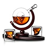 HaoLi Whisky Decanter Globe Skull Set, con 2 Vasos de Whisky Globe Grabados, para Licor, Whisky, Bourbon o Vodka - 850 ml