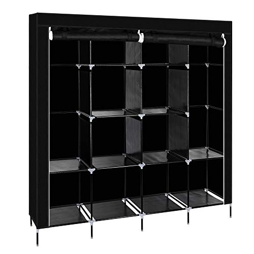 Ewer Portable Closet Clothes Wardrobe Bedroom Armoire Storage Organizer with Metal Shelves and Non-Woven Fabric Wardrobe Storage Cabinet 6673 W x 1732 D x 7145 H Black