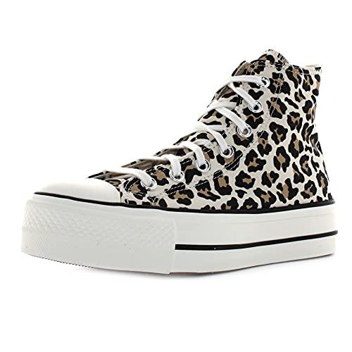 Converse Chuck Taylor All Star Lift Hi Blanco/Negro Tela Adulto Entrenadores Zapatos