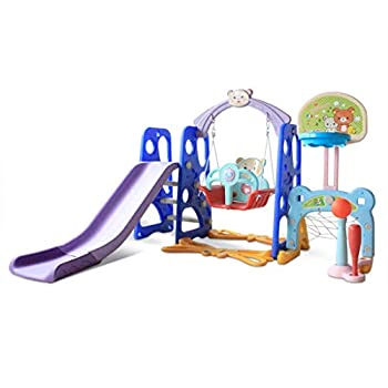 L-MIN 6 in 1 Toddler Slide Indoor Outdoor Kids Climber Swing and Slide Playset W/Basketball Hoop,Swingset,Climb Stairs,Football Baseball Combinations for Backyard