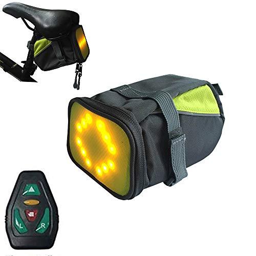 LICHUXIN Fahrradsatteltasche, Fahrrad Schwanz LED-Paket mit Blinkern, drahtlose Fernsicherheitswarnung Lichtreflexion, Nacht Sicherheit Außenreit