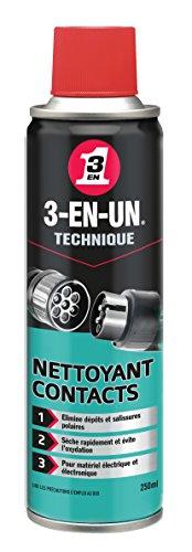 3-EN-UN Technique Nettoyant Contact Aérosol Action et séchage rapides Sans rinçage et sans résidus Compatible tous métaux, vinyles, plastiques et caoutchoucs 250 ML
