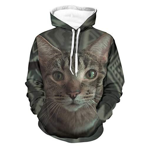 Sudadera con capucha unisex americana de pelo corto original – Gato con bolsillo de canguro chaqueta blanca XL