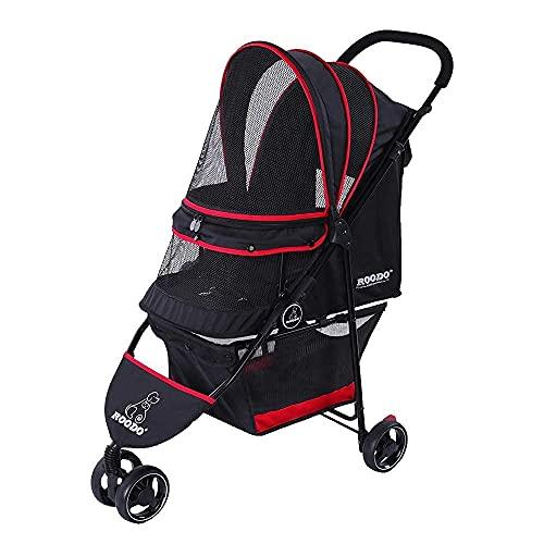 ROODO Dog Cat Pram Pet Travel Stroller Jogger Buggy Three-wheeled Stroller Lightweight, Portable, Fashion (Black/Red)
