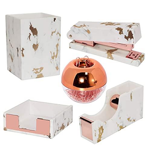 Marble Rose Gold Office Desk Office Organizer Set-Tape Dispenser Grapador para Escritorio, Pen Soporte de Lápiz, Dispensador de Clips...