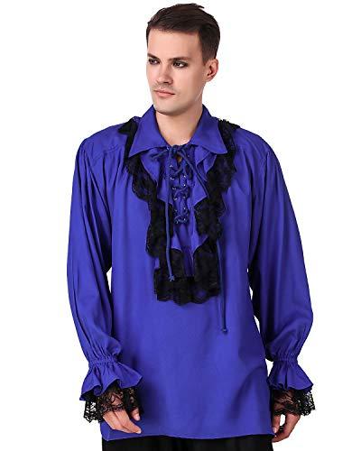 ThePirateDressing Medieval Renaissance Poet Cosplay Costume Roberto Cofresi Pirate Shirt [Blue] (Large) C1003