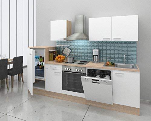 respekta inbouw keuken kitchenette keukenblok 280 cm eiken natura replica wit
