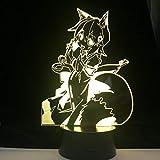Lámpara De Ilusión 3D Luz De Noche LED Útil Fox Senko-San Anime Luz De Noche...