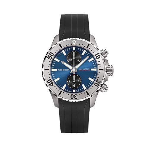 Rüschenbeck The Watch Automatik Herrenuhr R5CHRONO Chronograph Taucheruhr 316L Edelstahl 44 mm Saphirglas Kautschukarmband Wasserdicht 500 m blau/schwarz R5-S-KB-S-41-I-SLN2